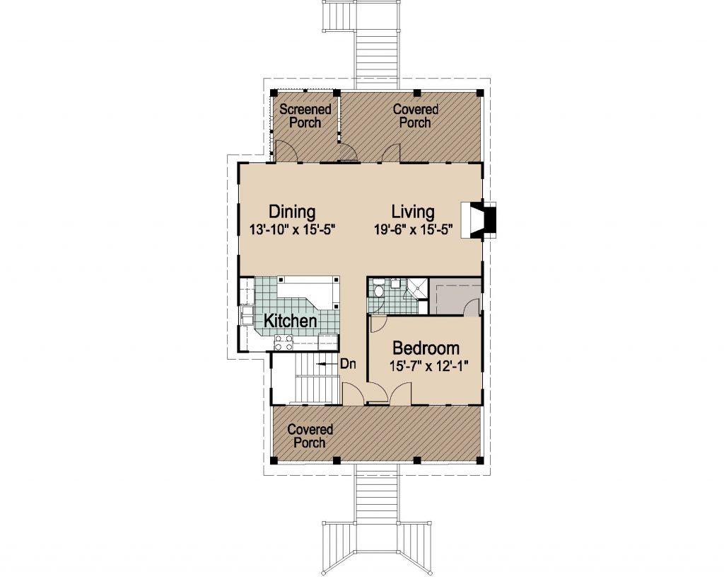 005 - Porches-Pile-3Bdrm-Side-Ent - REV - 3 - Second Floor