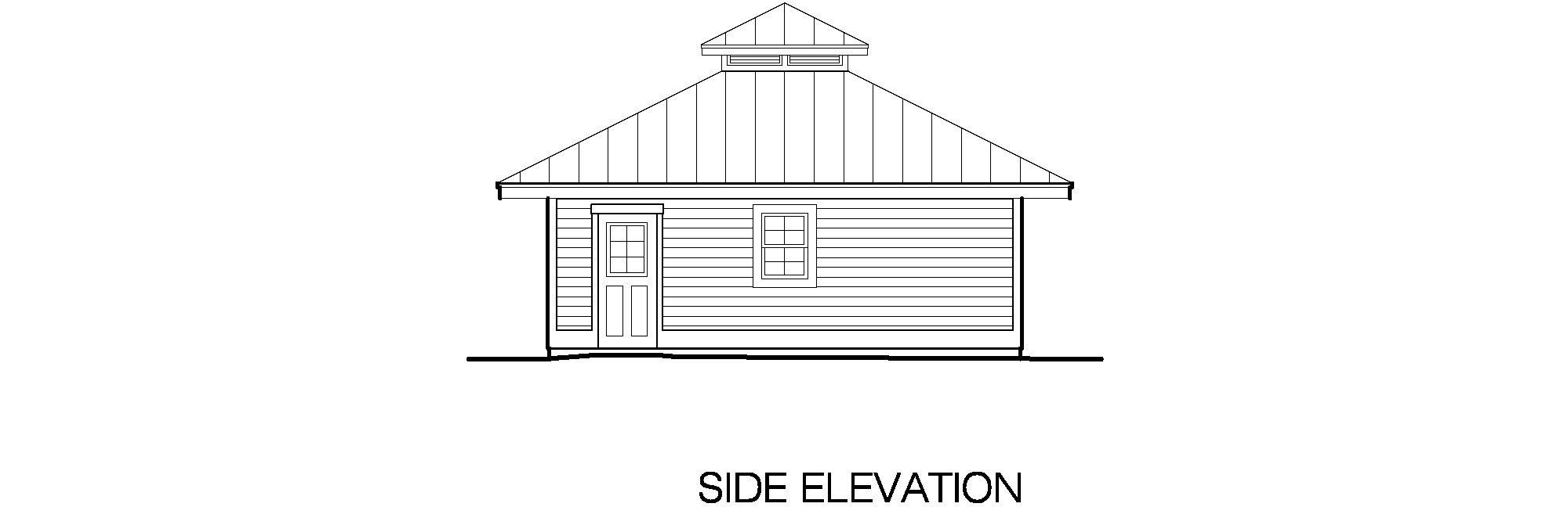 Hip Garage Side Elevation