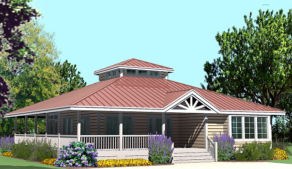 Hip cottage with wrap around porch 1423 sf southern for Cottage style roof design