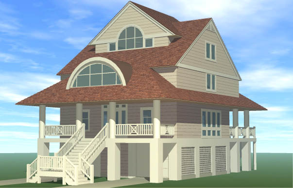 Winds Cottage Piling Foundation Gable Roof Dormer Front Right