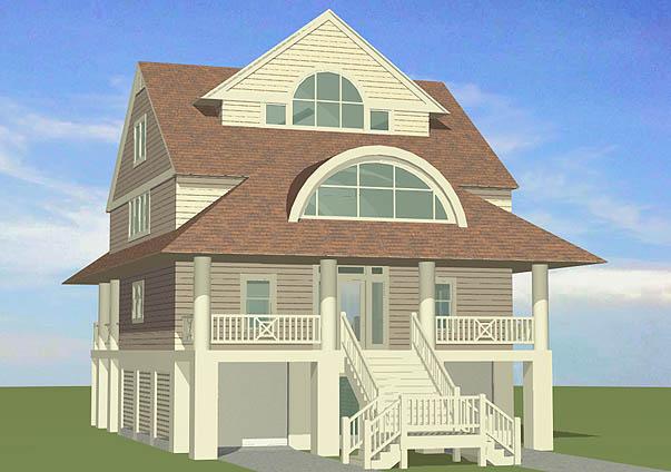 Winds Cottage Piling Foundation Gable Roof Dormer Front Left